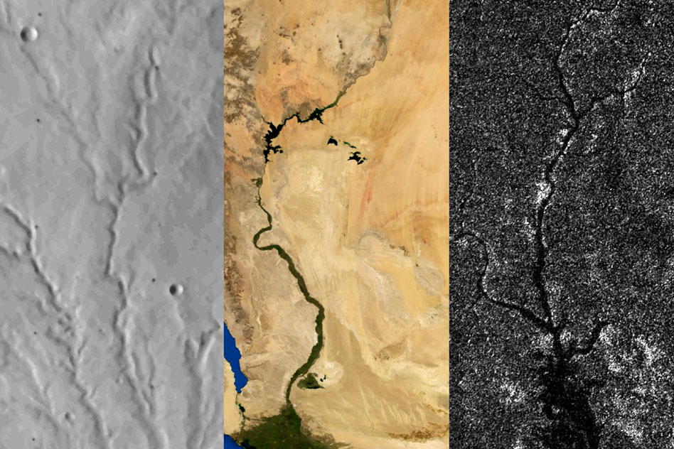 Left to right: River networks on Mars, Earth, and Titan. Researchers report that Titan, like Mars but unlike Earth, has not undergone any active plate tectonics in its recent past. - Image Credit: Benjamin Black/NASA/Visible Earth/JPL/Cassini RADAR team. Adapted from images from NASA Viking, NASA/Visible Earth, and NASA/JPL/Cassini RADAR team