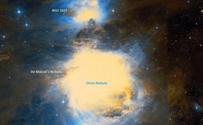 The De Mairan's Nebula (aka. Messier 43) and the Orion Nebula. - Image Credit: Wikisky
