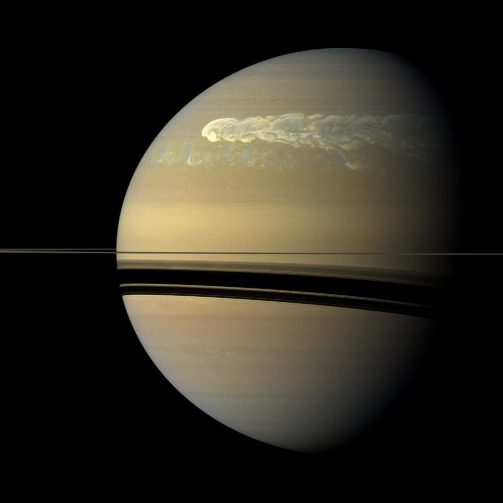 During its seven-year Solstice Mission, Cassini watched as a huge storm erupted and encircled Saturn. Scientists think storms like this are related, in part, to seasonal effects of sunlight on Saturn's atmosphere. - Imahe Credits: NASA/JPL/Space Science Institute