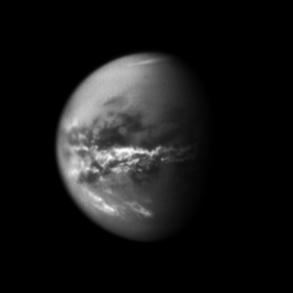 Following Saturnian equinox in 2009, Cassini observed cloud activity on Titan shift from southern latitudes toward the equator, and eventually to the high north. Such observations have provided evidence of seasonal shifts in Titan's weather systems. - Imahe Credits: NASA/JPL/Space Science Institute