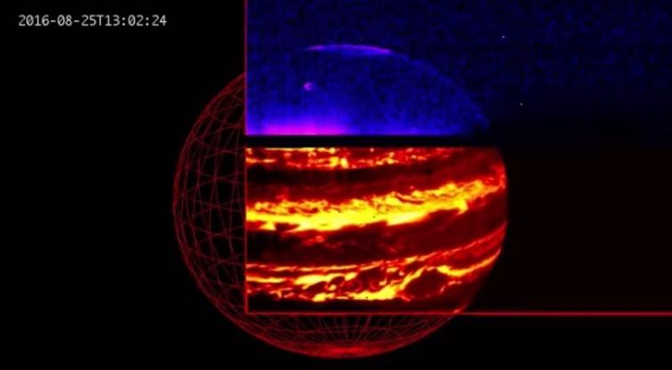 Infrared image showing Jupiter's aurora (blue) and internal glow (red). - Image Credit: NASA/JPL-Caltech/SwRI/ASI/INAF/JIRAM