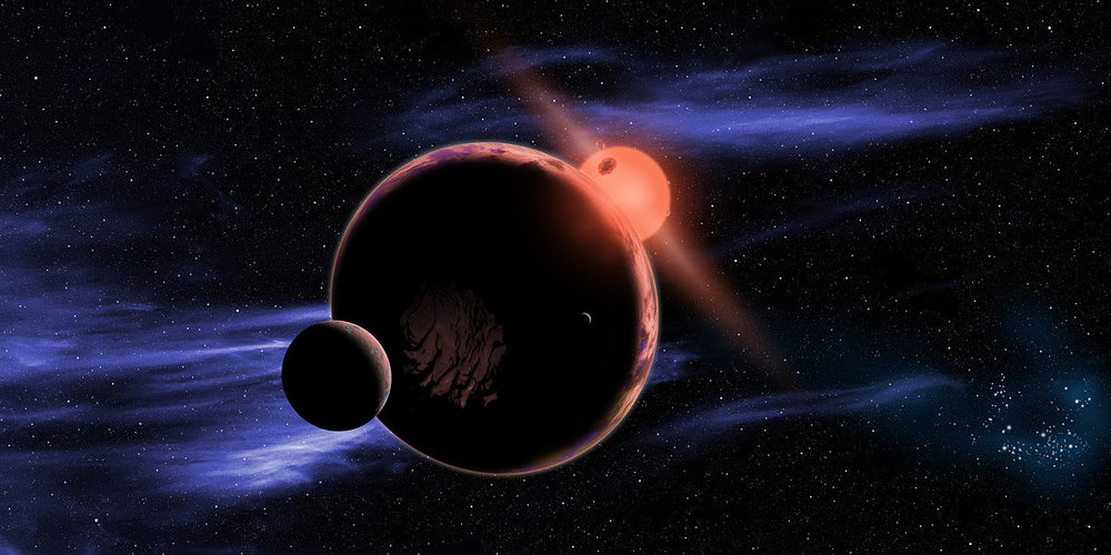 An artist's impression of a planet orbitin a red dwarf star - Image Credit: NASA/Harvard-Smithsonian Center for Astrophysics/D. Aguilar