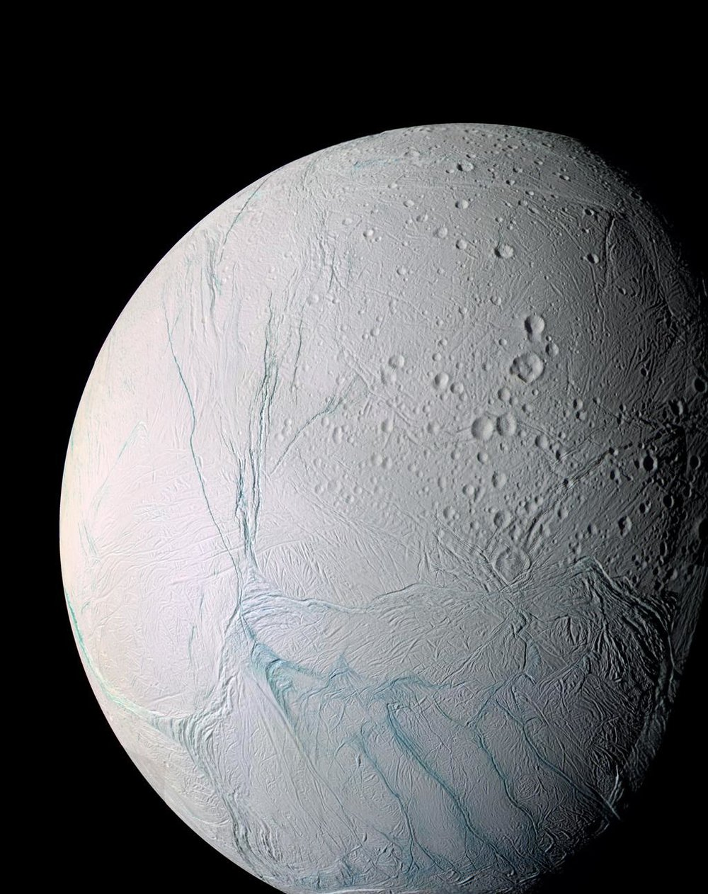 Cassini researchers have found evidence the active south polar region of Enceladus -- the fractured terrain seen here at bottom -- may have originally been closer to the icy moon's equator. - Image Credits: NASA/JPL-Caltech/ Space Science Institute