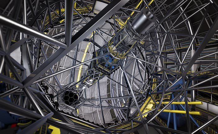 This artist's rendering shows the huge segmented primary mirror of the ESO Extremely Large Telescope (ELT). Contracts for the manufacture of the mirror segments were signed on 30 May 2017. - Image Credit: ESO/L. Calcada