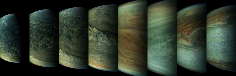 A sequence of images of Jupiter from Juno's Perijove 6 pass during May, 2017. - Image Credit: NASA / SwRI / MSSS / Gerald Eichstädt / Seán Doran.