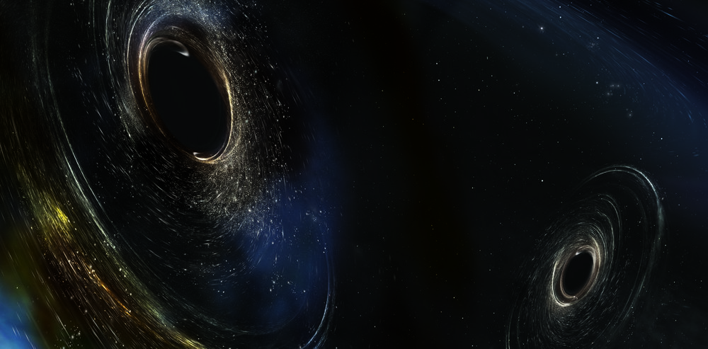Artist's conception of two merging black holes, spinning in a nonaligned fashion. - Image Credit: LIGO/Caltech/MIT/Sonoma State (Aurore Simonnet),  CC BY-ND