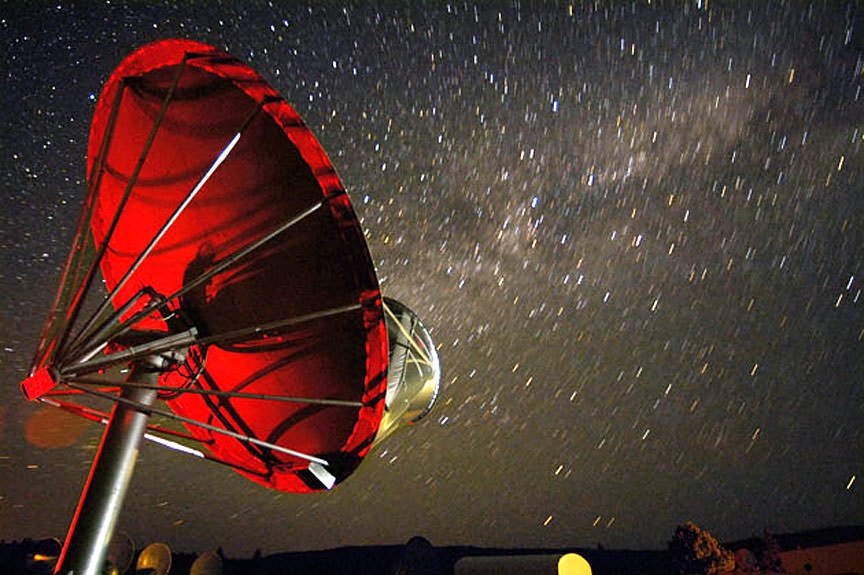 One of the 42 dishes in the Allen Telescope Array that searches for signals from space. Credit: Seth Shostak/SETI Institute.