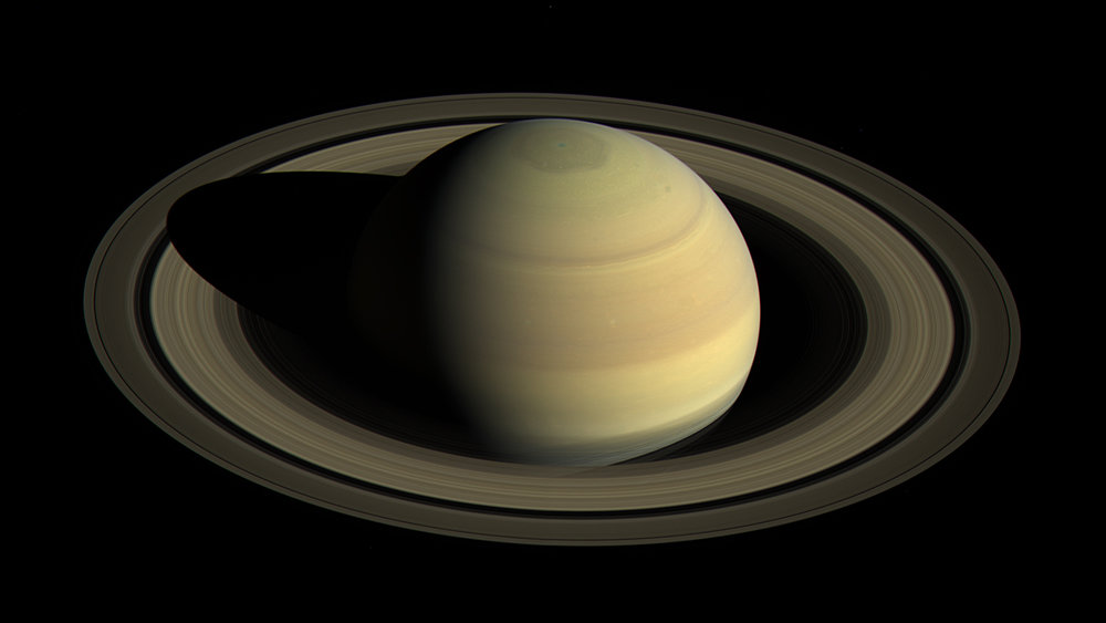 Like all the giant planets, Saturn is many times the size of Earth and the other rocky planets. - Image Credit: NASA/JPL-Caltech/Space Science Institute.