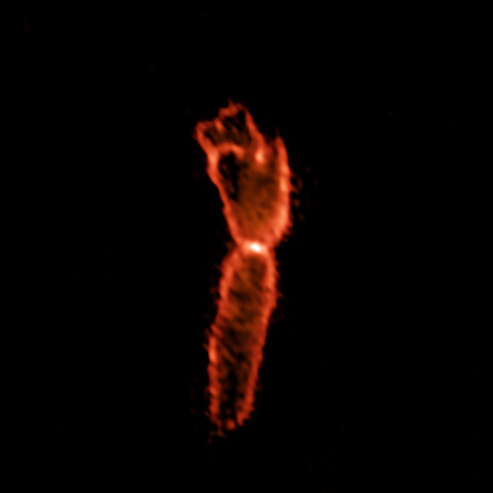 ALMA image of the Boomerang Nebula, showing its massive outflow - Image Credit: ALMA (ESO/NAOJ/NRAO), R. Sahai