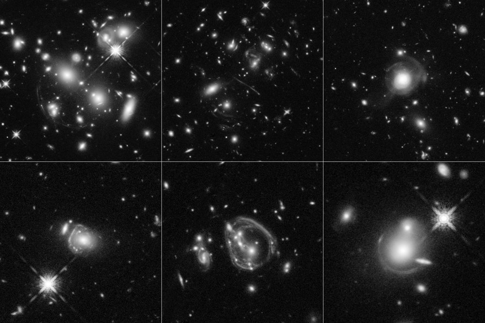 These six Hubble Space Telescope images reveal a jumble of misshapen-looking galaxies punctuated by exotic patterns such as arcs, streaks, and smeared rings. These unusual features are the stretched shapes of the universe's brightest infrared galaxies that are boosted by natural cosmic magnifying lenses. Some of the oddball shapes also may have been produced by spectacular collisions between distant, massive galaxies. The faraway galaxies are as much as 10,000 times more luminous than our Milky Way. The galaxies existed between 8 billion and 11.5 billion years ago. - Credits: NASA, ESA, and J. Lowenthal (Smith College)