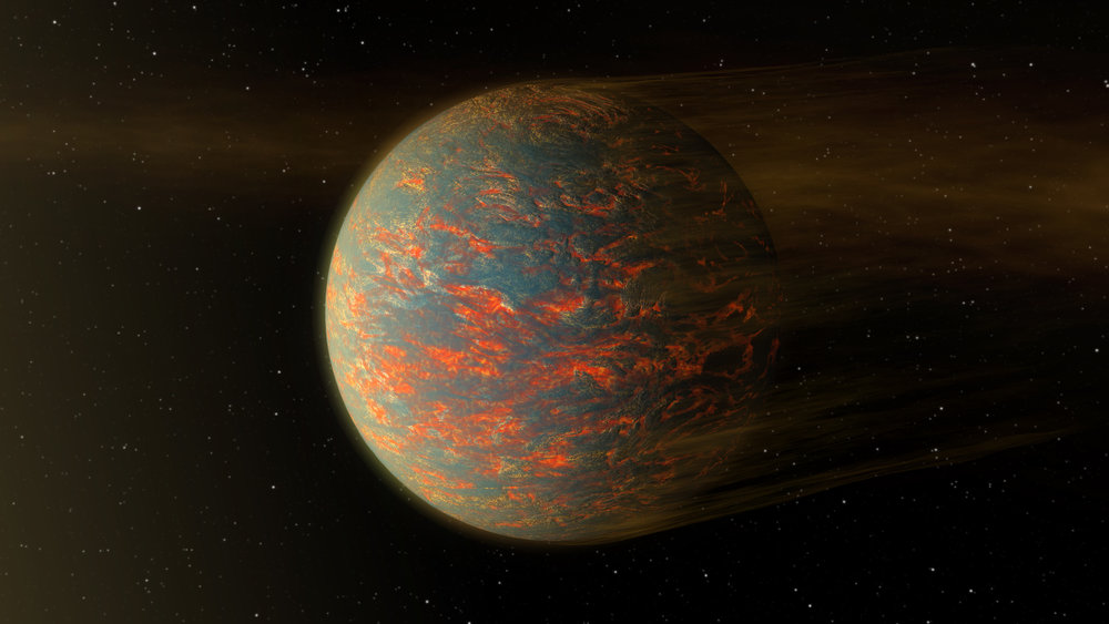This illustration shows one possible scenario for the hot, rocky exoplanet called 55 Cancri e, which is nearly two times as wide as Earth. Robert Hurt created this in 2016. - Image Credits: NASA/JPL-Caltech