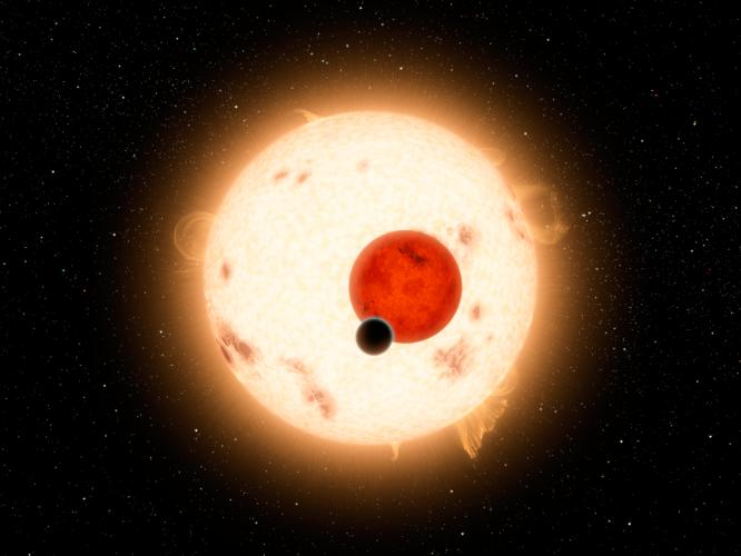 NASA's Kepler mission discovered a world where two suns set over the horizon instead of just one, called Kepler-16b. Robert Hurt did this illustration of this fascinating world. - Image aCredits: NASA/JPL-Caltech