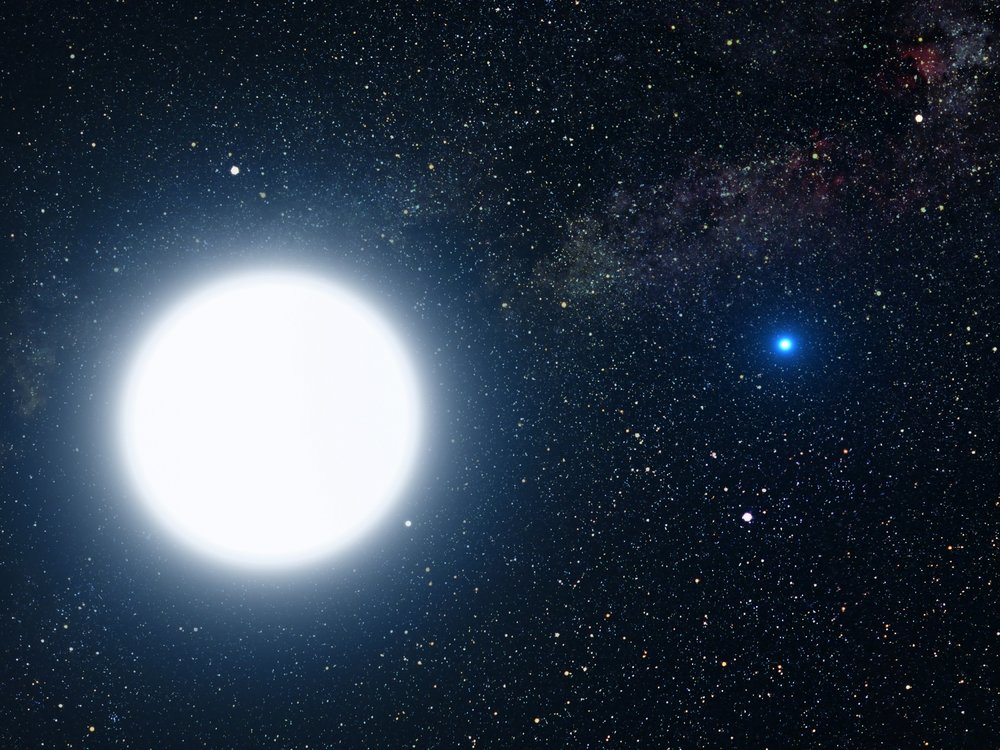 Artist's impression of the binary pair made up by a white dwarf star in orbit around Sirius (a white supergiant). - Image Credit: NASA, ESA and G. Bacon (STScI)