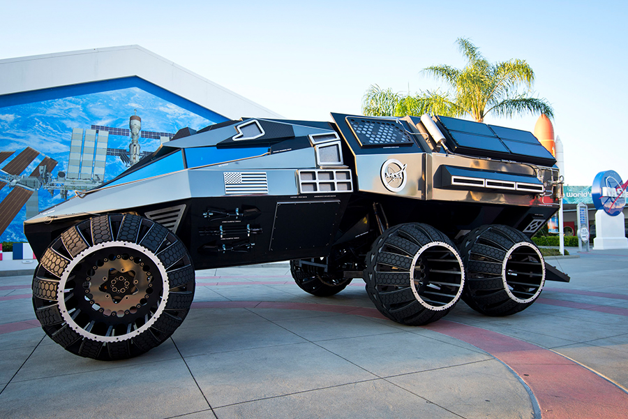 The Mars Rover Concept Vehicle, unveiled on June 5th to kick off NASA's Summer of Mars. - Image Credit: NASA/Kim Shiflett