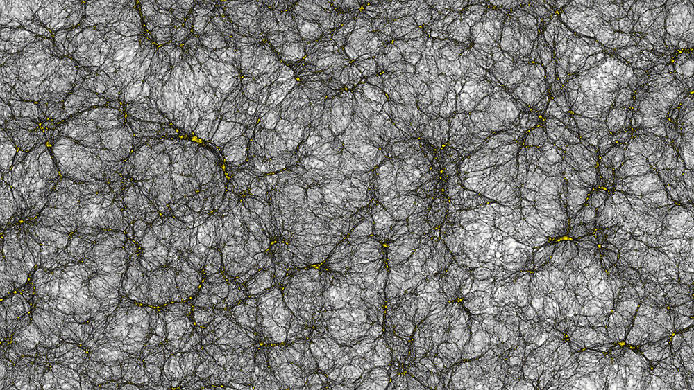 A section of the virtual universe, a billion light years across, showing how dark matter is distributed in space, with dark matter halos the yellow clumps, interconnected by dark filaments. Cosmic void, shown as the white areas, are the lowest density regions in the Universe. - Image Credit: Joachim Stadel, UZH
