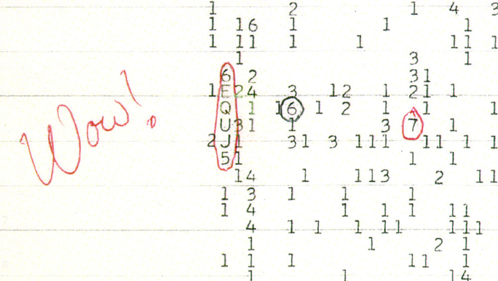 """The Wow! signal represented as """"6EQUJ5"""". -Image Credit: Big Ear Radio Observatory and North American AstroPhysical Observatory (NAAPO)/WikimediaCommons"""