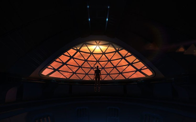 Artist's rendition of a passenger aboard the ITS looking down on Mars. - Image Credit: SpaceX