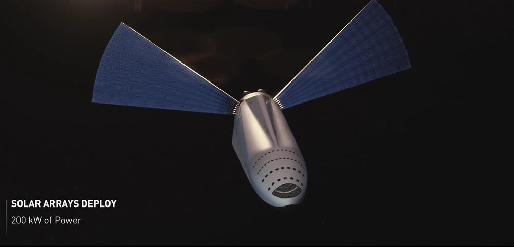 Artist's impression of the ITS in transit, with its solar arrays deployed. - Image Credit: SpsaceX
