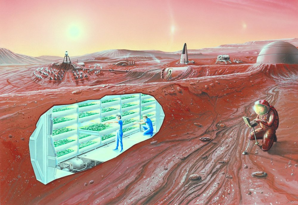 Artist impression of a Mars settlement with cutaway view. - Image Credit: NASA Ames Research Center