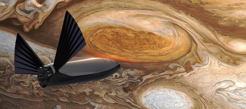 Artist's impression of the ITS conducting a flyby of Jupiter. - Image Credit: SpaceX