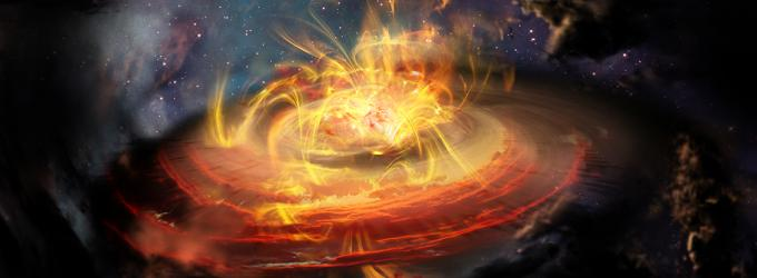 Artist impression of chaotic magnetic field lines very near a newly emerging protostar. - Image Credit: NRAO/AUI/NSF; D. Berry