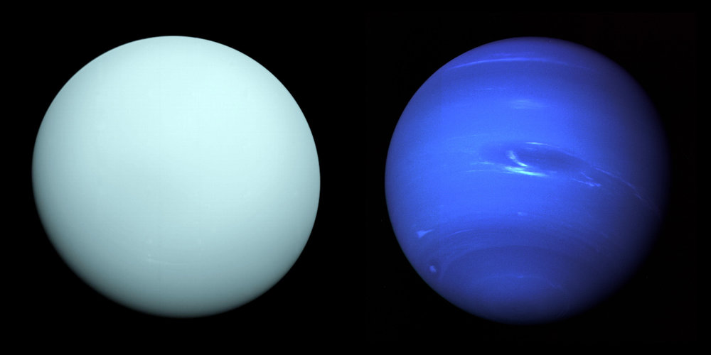 Left: Arriving at Uranus in 1986, Voyager 2 observed a bluish orb with subtle features. A haze layer hid most of the planet's cloud features from view. Right: This image of Neptune was produced from Voyager 2 and shows the Great Dark Spot and its companion bright smudge. - Image Credits: Left: NASA/JPL-Caltech - Right: NASA