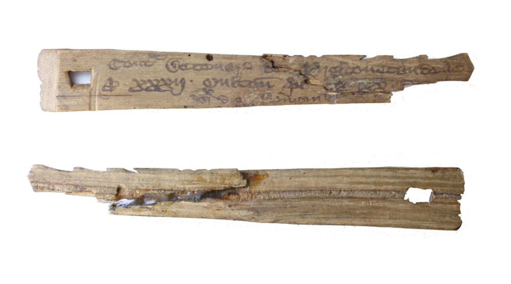Medieval English tally sticks recorded transactions and monetary debts. - Image Credit:  Winchester City Council Museums ,  CC BY-SA