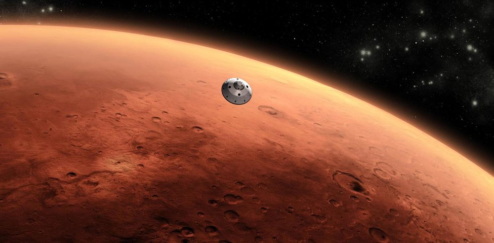 Artist's concept of the Mars Science Laboratory spacecraft approaching Mars. - Image Credit: NASA/JPL-Caltech