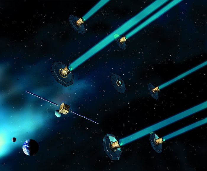 Artist's impression of the ESA's proposed Darwin mission, six formation-flying satellites that would look for exoplanets. - Image Credit: ESA/Medialab