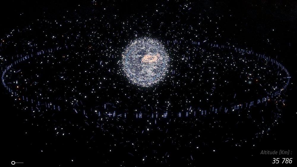 Illustration showing the problem of space debris. - Image Credit: ESA