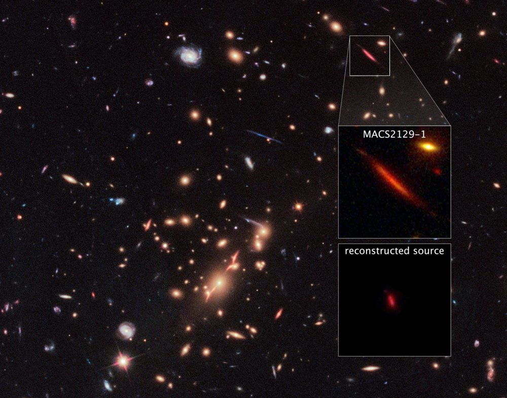 "Acting as a ""natural telescope"" in space, the gravity of the extremely massive foreground galaxy cluster MACS J2129-0741 magnifies, brightens, and distorts the far-distant background galaxy MACS2129-1, shown in the top box. The middle box is a blown-up view of the gravitationally lensed galaxy. In the bottom box is a reconstructed image, based on modeling that shows what the galaxy would look like if the galaxy cluster were not present. The galaxy appears red because it is so distant that its light is shifted into the red part of the spectrum. - Image Credits: NASA, ESA, S. Toft (University of Copenhagen), M. Postman (STScI), and the CLASH team"