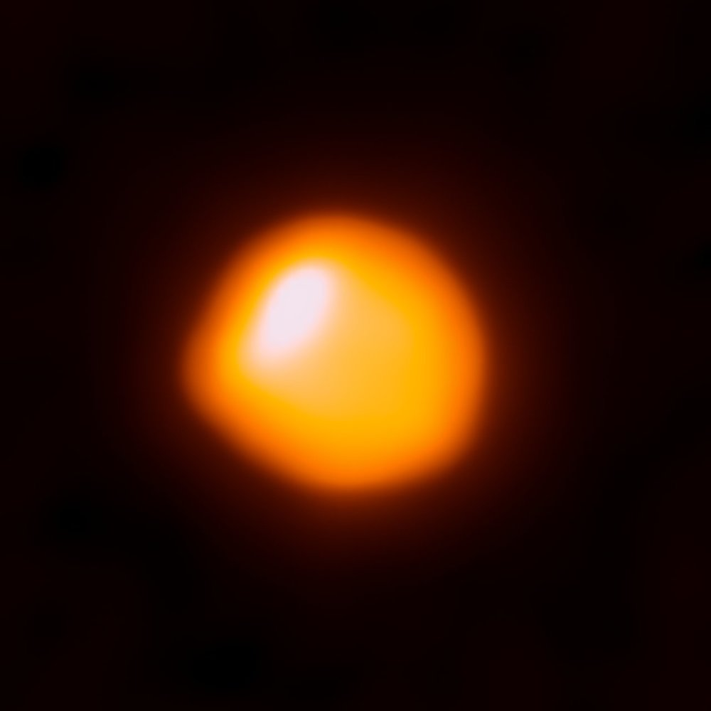 This orange blob shows the nearby star Betelgeuse, as seen by the Atacama Large Millimeter/submillimeter Array - Image Credit: (ALMA). ALMA/ESO/NRAO