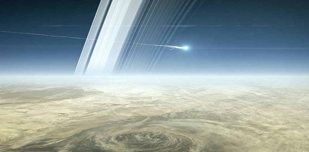 "Artist's impression of Cassini ending its life as a fireball in Saturn's atmosphere. - Image Credit: ""NASA/JPL-Caltech"