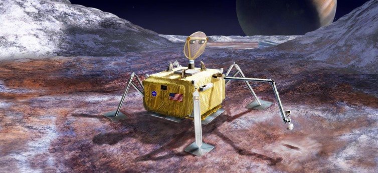 Artist's concept of a lander on Jupiter's moon Europa. Should this even be allowed? - Image Credit: NASA/JPL-Caltech
