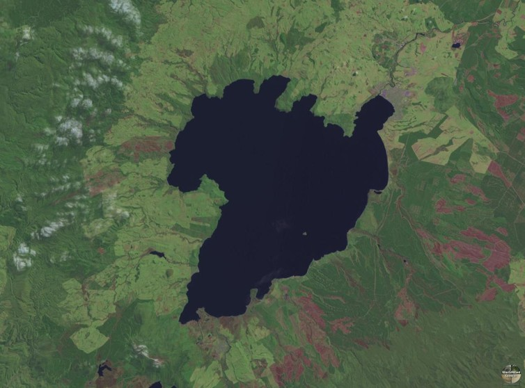 Lake Taupo is the caldera of the region's largest volcano. - Image Credit: NASA/Wikimedia Commons, CC BY-ND
