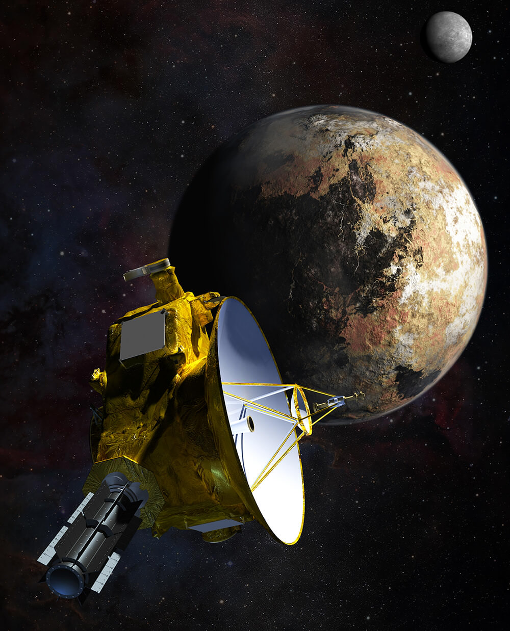 Artist's impression of New Horizons' close encounter with the Pluto–Charon system. - Image Credit: NASA/JHU APL/SwRI/Steve Gribben