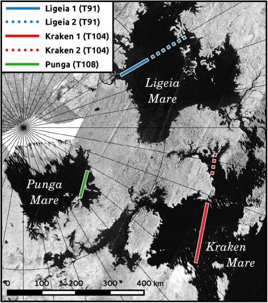 Titan's three largest lakes and their surrounding areas as seen by the Cassini RADAR instrument. The researchers used the instrument to study waves on the lake surfaces. - Image Credit: Cyril Grima/ The University of Texas at Austin