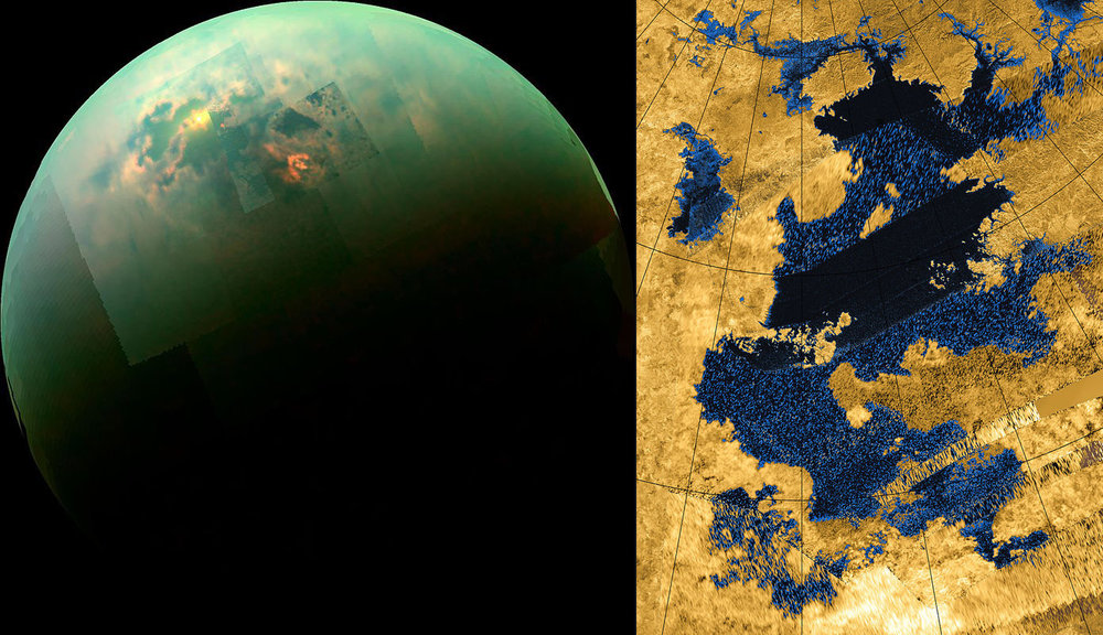 The left image shows a mosaic of images of Titan taken by the Cassini spacecraft in near infrared light. Titan's polar seas are visible as sunlight glints off of them. The right image is a radar image of Kraken Mare. - Image Credit: NASA Jet Propulsion Laboratory.