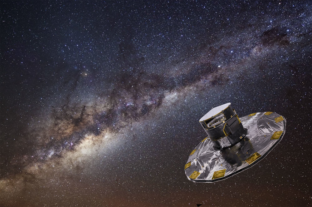 Artist's conception of the Gaia telescope backdropped by a photograph of the Milky Way taken at the European Southern Observatory. - Image Credit: ESA/ATG medialab; background: ESO/S. Brunier
