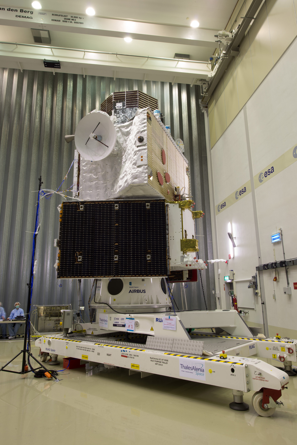 BepiColombo at ESA's test centre, before a sun shield was placed around the unit at the top. - Image Credit: ESA–Philippe Sebirot,  CC BY-SA