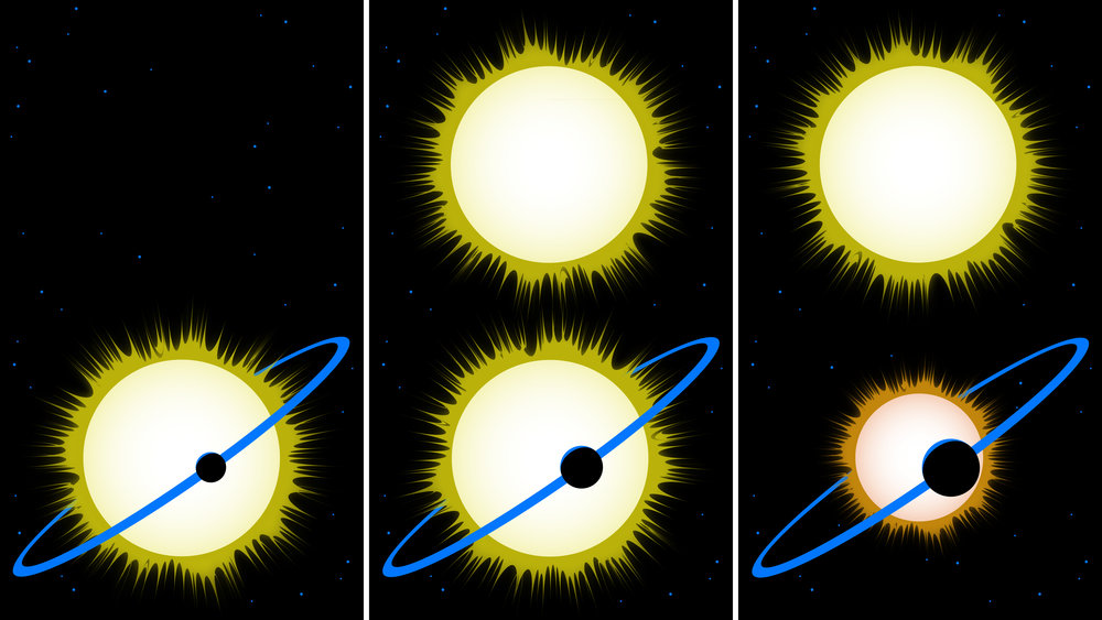 This cartoon explains why the reported sizes of some exoplanets may need to be revised in cases where there is a second star in the system. - Image Credits: NASA/JPL-Caltech
