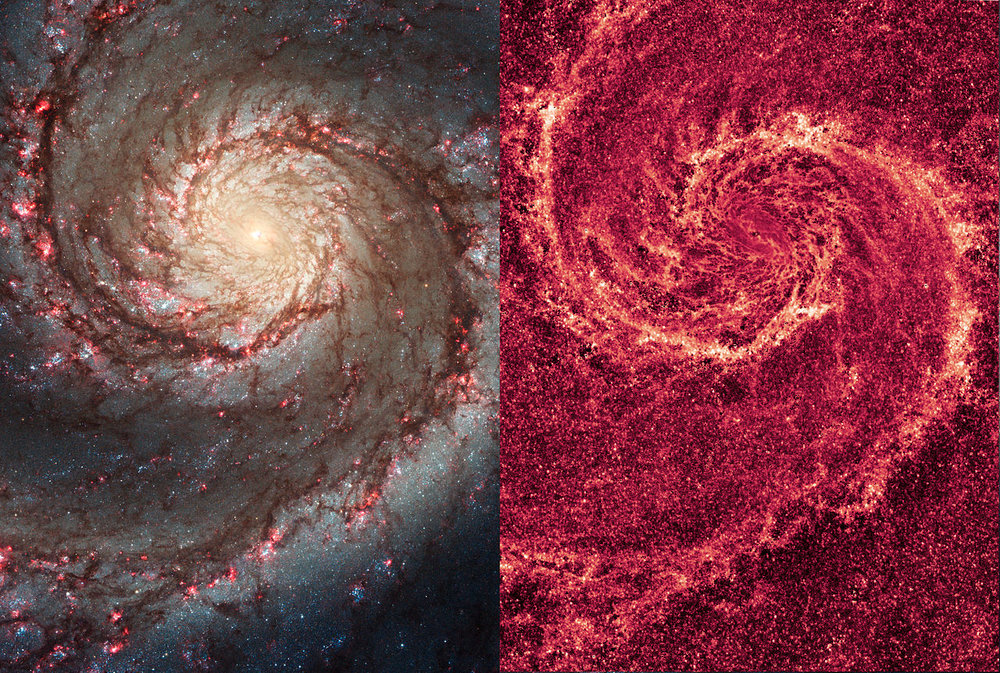 Visible light (left) and infrared image (right) of the Whirlpool Galaxy, taken by NASA's Hubble Space Telescope. - Image Credit: NASA/ESA/M. Regan & B. Whitmore (STScI), & R. Chandar (U. Toledo)/S. Beckwith (STScI), & the Hubble Heritage Team (STScI/AURA