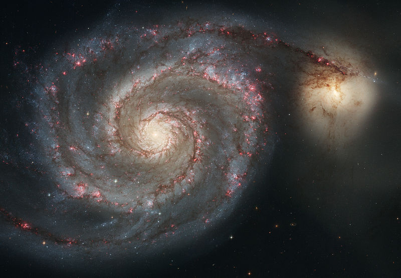 The Whirlpool Galaxy (Spiral Galaxy M51, NGC 5194), a classic spiral galaxy located in the Canes Venatici constellation, and its companion NGC 5195. Credit: NASA/ESA