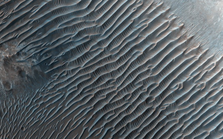 Sand dunes near to Mars' South Pole. - Image Credit: NASA