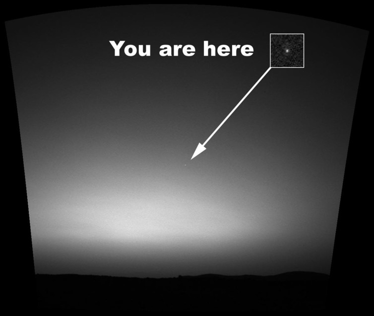 The Earth photographed from the surface of Mars by the Mars Exploration Rover Spirit, March 2004. - Image Credit: NASA/JPL/Cornell/Texas A&M