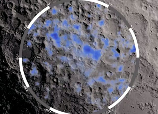 The blue areas show locations on the Moon's south pole where water ice is likely to exist. Credit: NASA/GSFC