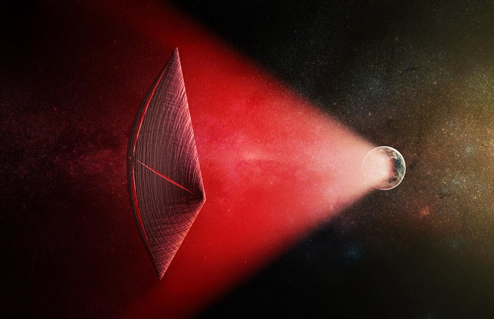 Artist's illustration of a light-sail powered by a laser beam (red) generated on Earth's surface. - Image Credit: M. Weiss/CfA
