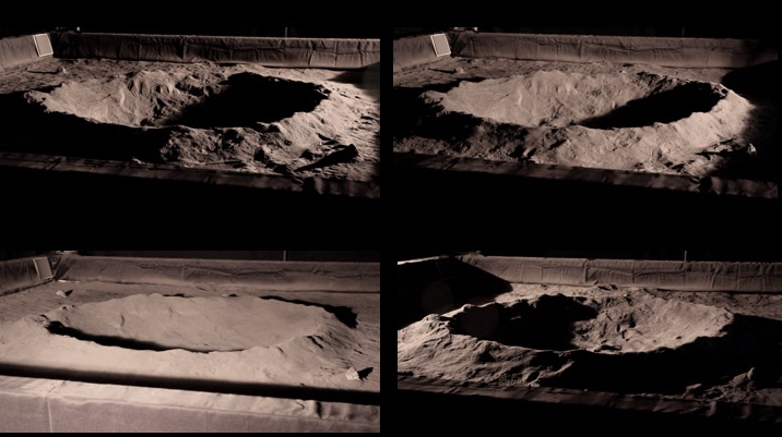 Above is a set from over 2,500 pairs of stereo camera images taken from at least 12 scenarios of recreated craters and rock formations that Wong and his team collected to accurately simulate the lighting conditions at the Moon's poles. The goal is to improve the stereo viewing capabilities of robotic systems to effectively navigate unknown terrain and avoid hazards at the Moon poles. - Image Credits: NASA/Uland Wong
