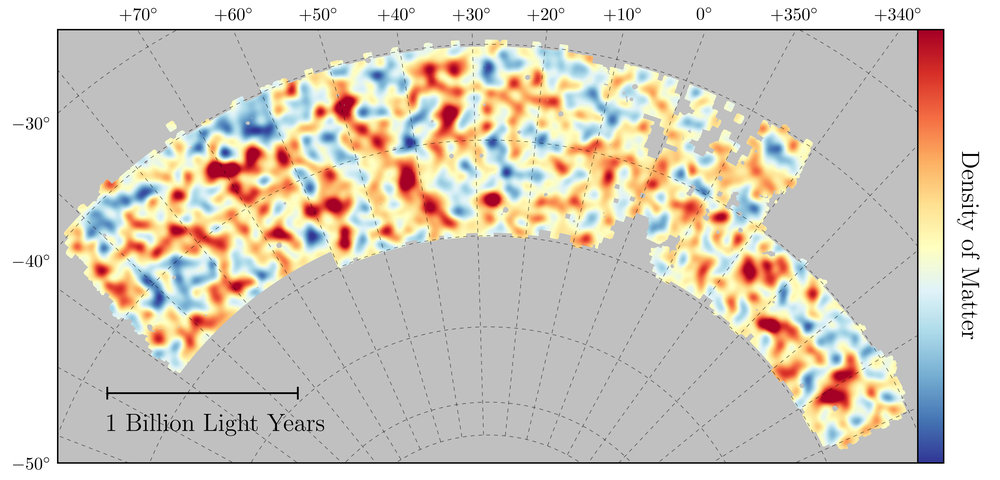 Map of dark matter made from gravitational lensing measurements of 26 million galaxies in the Dark Energy Survey. The map covers about 1/30th of the entire sky and spans several billion light years in extent. Red regions have more dark matter than average, blue regions less dark matter. - Image Credits: Chihway Chang/Kavli Institute for Cosmological Physics at the University of Chicago/DES Collaboration