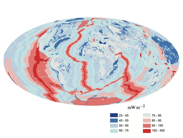 Earth heat flow map. - Image Credit: wikipedia, CC BY-SA